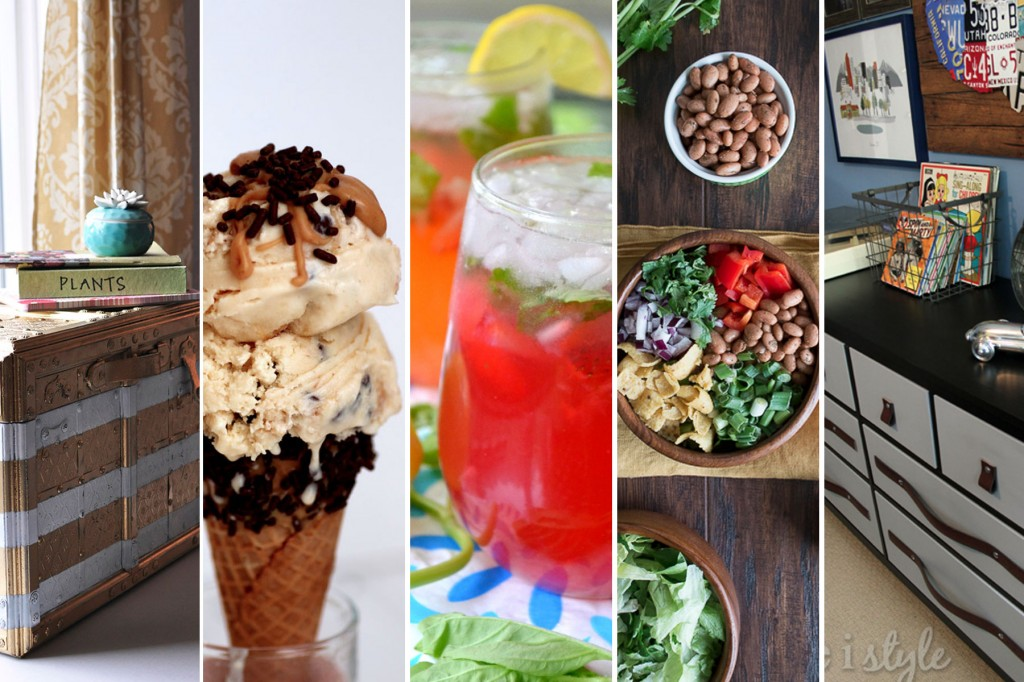 Pinworthy Projects Party Features: Metallic Painted Chest, Peanut Butter Ice Cream, Strawberry-Basil Summer Spritzer, Tex Mex Frito Salad, and DIY Leather Belt Drawer Pulls | Atkinson Drive