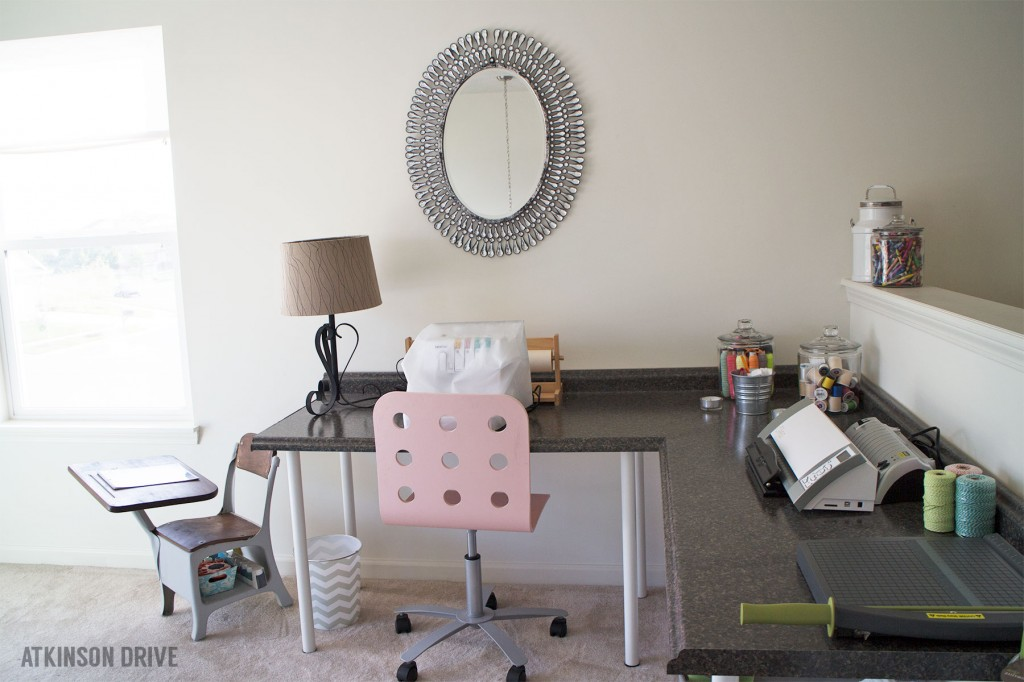 DIY Desk (using countertop pieces and IKEA desk legs) | Atkinson Drive