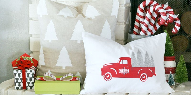DIY Christmas Tree and VIntage Truck Holiday Pillows