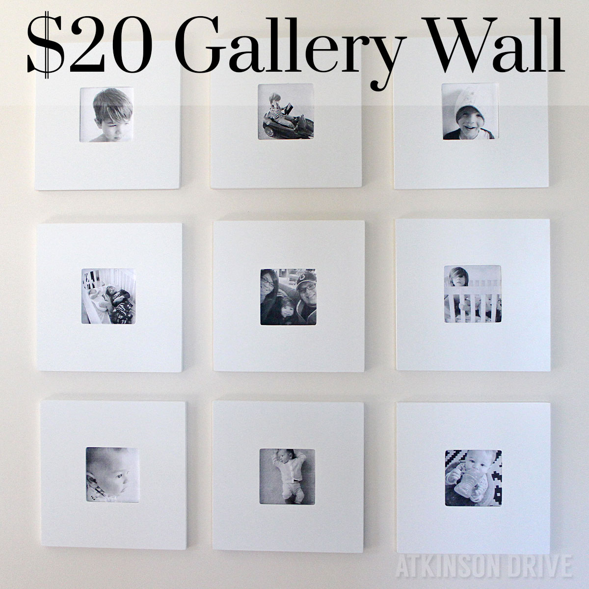 i made this 9 frame black and white gallery wall for less than 20